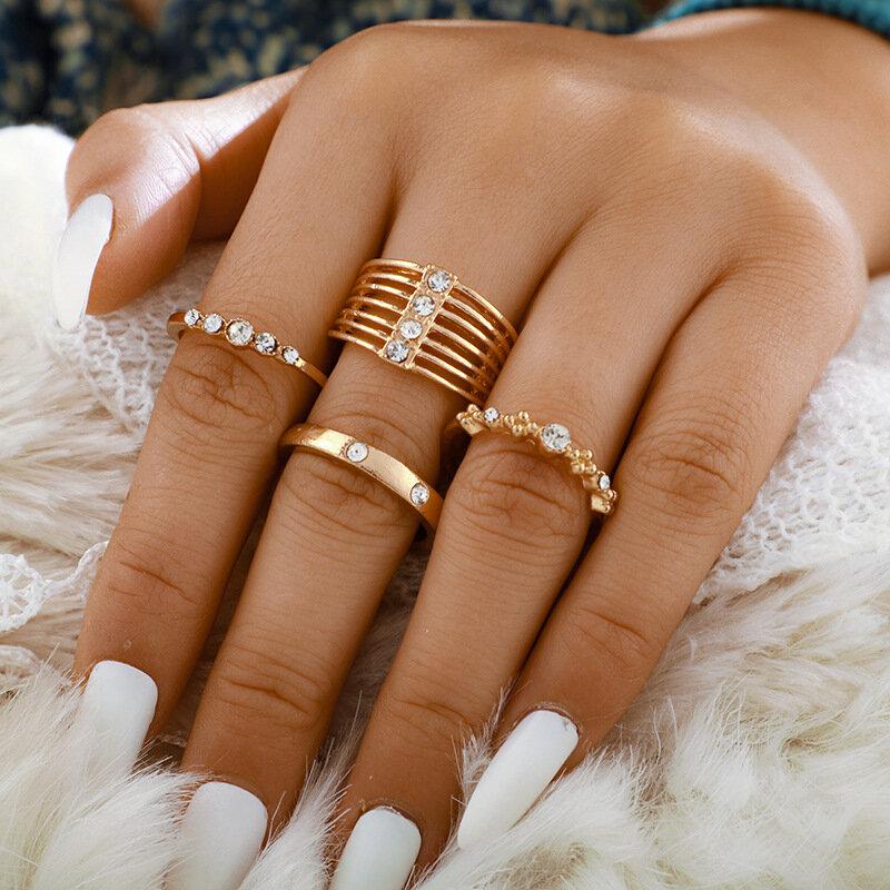 4 Pcs/Set Fashion Creative Golden Ring SetRhinestone Mount Women Multilayer Joint Ring Kit