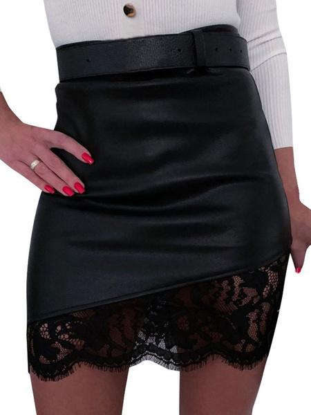 Milanoo Falda de mujer Encaje negro Cuero de PU Otoño e invierno Pantalones de mujer