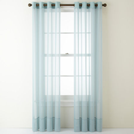 Home Expressions Lisette Sheer Grommet-Top Single Curtain Panel, One Size , Blue