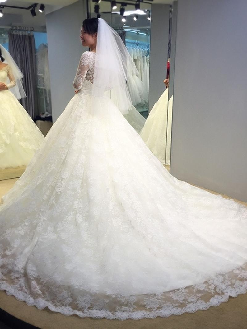 Ericdress Lace Button Long Sleeve Vintage Wedding Dress