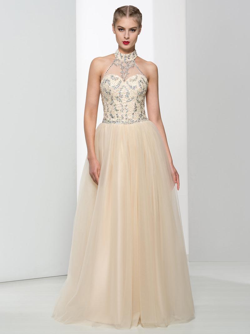 Ericdress Halter Beading Sequins Long Prom Dress
