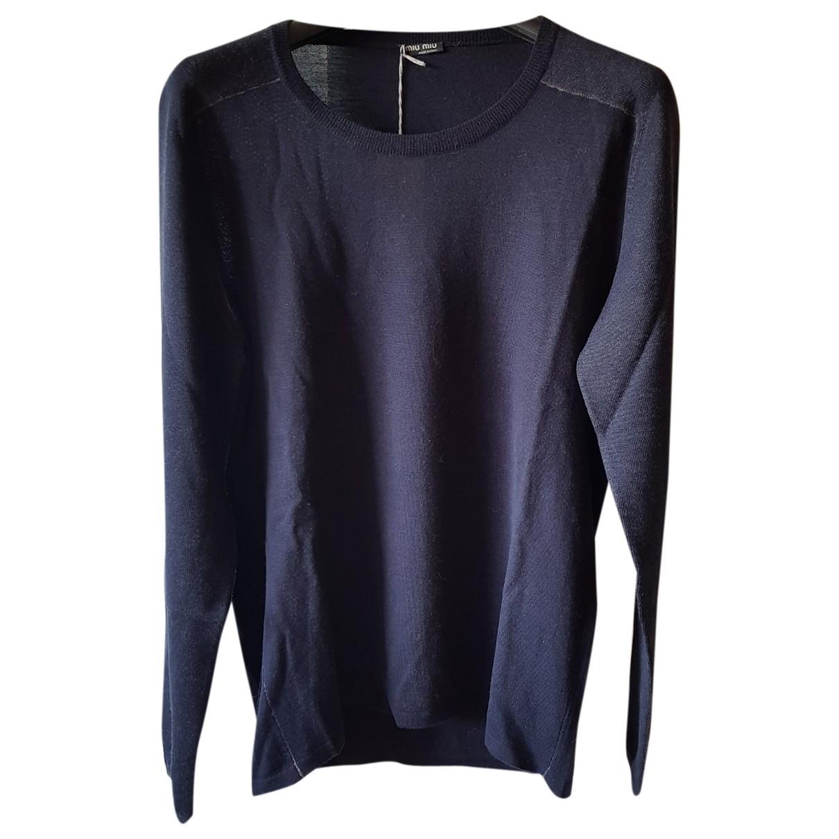 Miu Miu \N Pullover.Westen.Sweatshirts  in  Marine Wolle