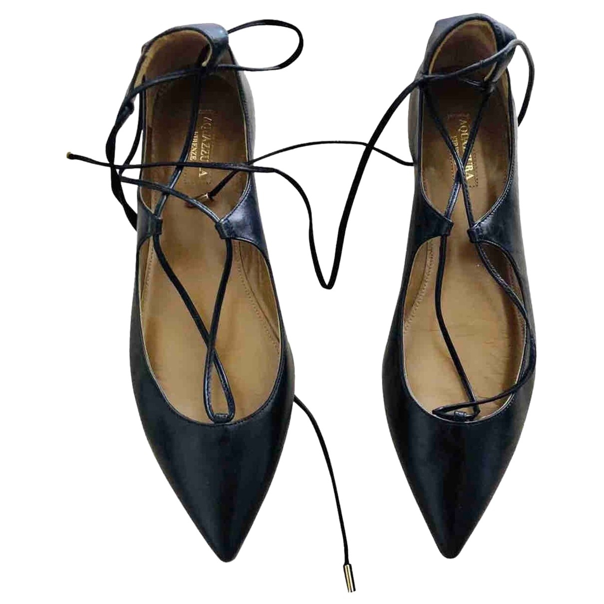 Aquazzura Christy Black Leather Ballet flats for Women 39 EU