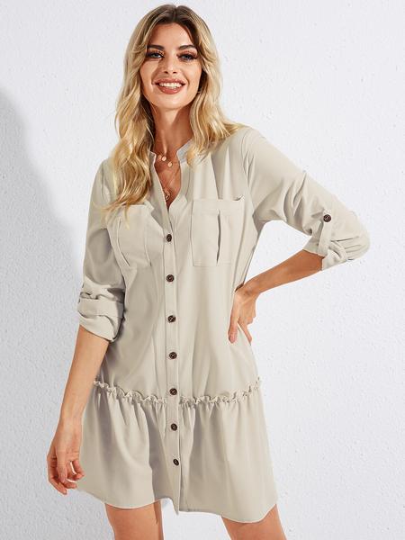YOINS Khaki Smocking Front Button Adjustable Sleeve Length Dress