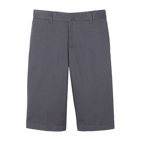 French Toast Flat Front Short Little & Big Boys Mid Rise Stretch Adjustable Waist Chino Short, 18 , Gray
