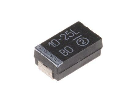 Vishay Tantalum Capacitor 10μF 25V dc MnO2 Solid ±10% Tolerance , 293D (5)