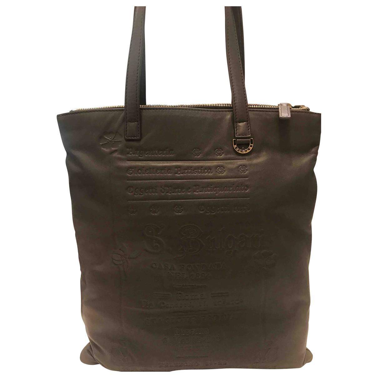 Bvlgari N Grey Leather handbag for Women N