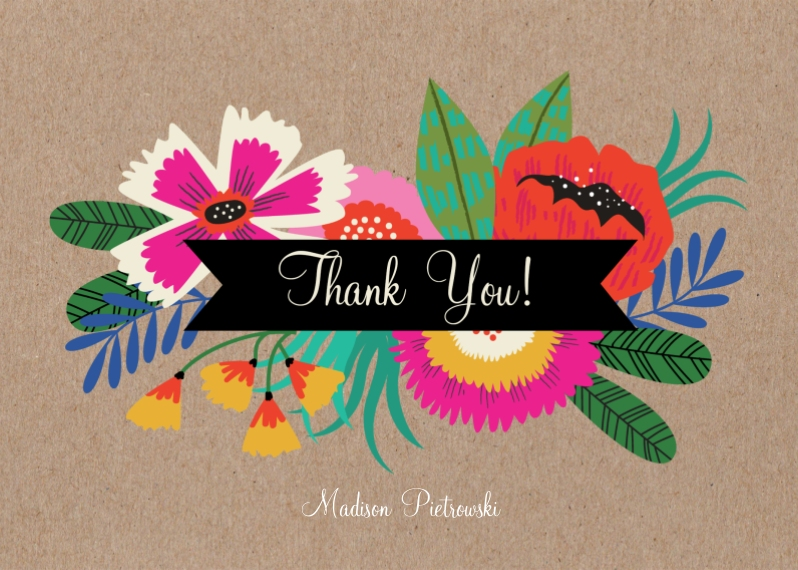 Thank You Cards 5x7 Folded Cards, Standard Cardstock 85lb, Card & Stationery -Birthday Flowers