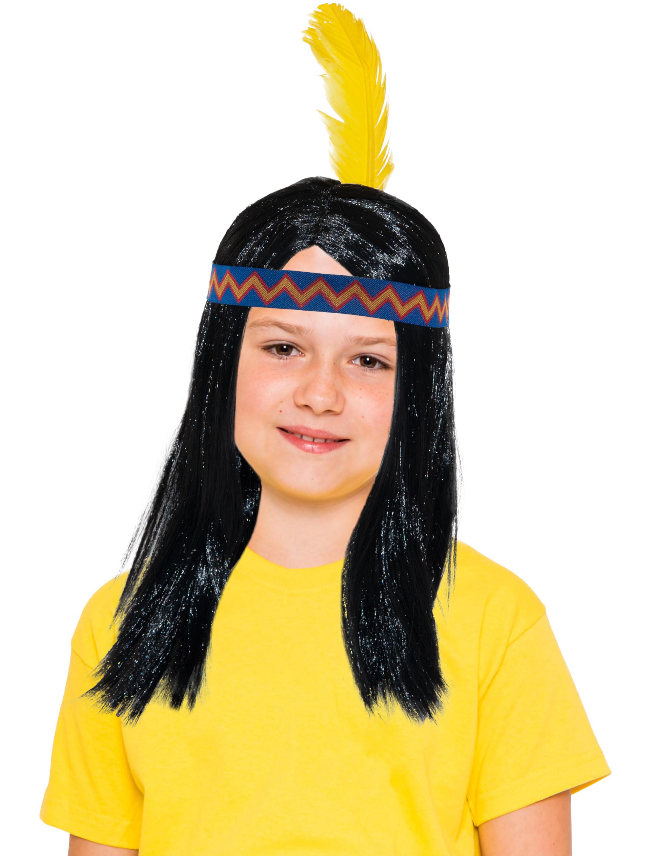 Kostuemzubehor Peruecke mit Federstirnband Kinder Farbe: schwarz