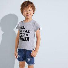 Kleinkind Jungen T-Shirt mit Buchstaben Grafik & Denim Shorts mit Riss