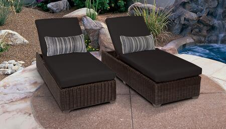 Venice Collection VENICE-2x-BLACK Set of 2 Chaises - Wheat and Black