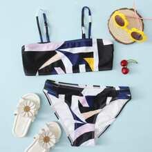 Bikini Badeanzug mit Geo Muster und Ausschnitt
