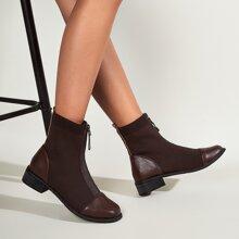 Front Zipper Knit Block Heeled Boots