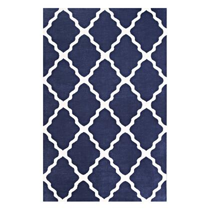 Marja Collection R-1003A-58 Moroccan Trellis 5x8 Area Rug in Navy and Ivory