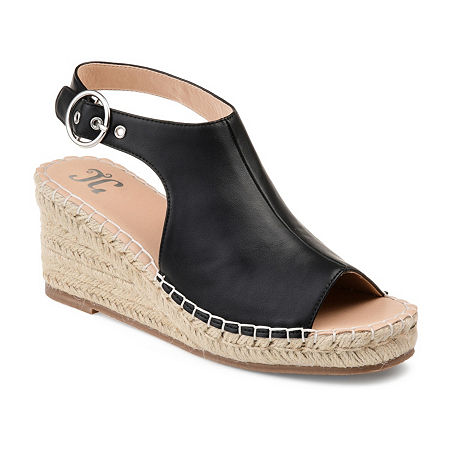 Journee Collection Womens Crew Wedge Sandals, 10 Medium, Black