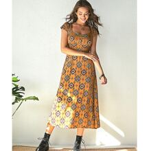 Ruched Bust Tie Back Tribal Dress