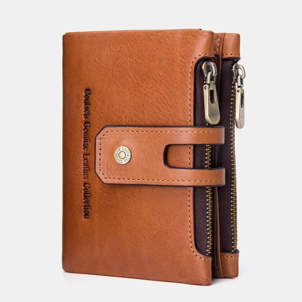 Men Genuine Leather Double Zipper Buckle Wrinkle Free Anti theft Wallet Purse