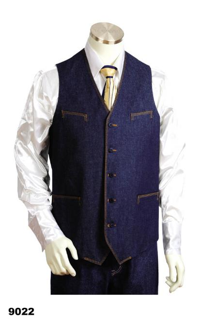 Mens 2pc Blue Denim Vest Sets With Urban Styled Jeans