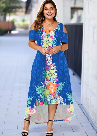 Plus Size Floral Print High Low Dress - 2X