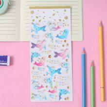 1sheet Cartoon Dolphin Print Sticker