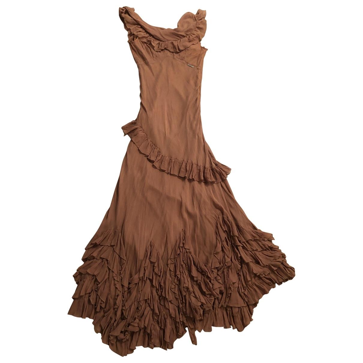 John Galliano - Robe   pour femme en soie - marron
