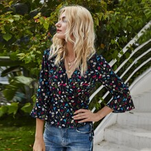Flounce Sleeve Wrap Belted Floral Top