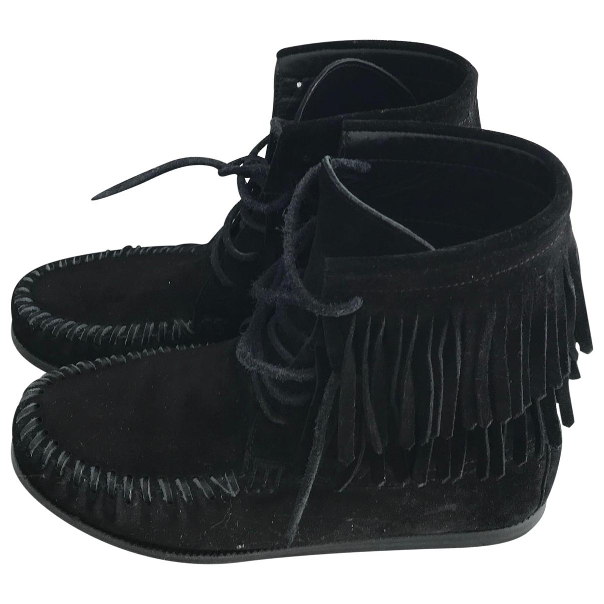 Saint Laurent \N Black Suede Ankle boots for Women 36 EU