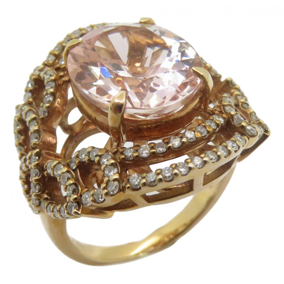 Non Signe / Unsigned Bagues Cocktails Ring in  Rosa Rosegold