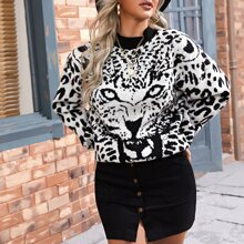 Jersey de hombros caidos con estampado de leopardo