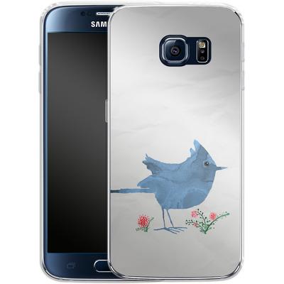 Samsung Galaxy S6 Silikon Handyhuelle - Watercolour Bird White von caseable Designs