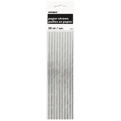 Foil Paper Drinking Straws Party Silver 10Pcs