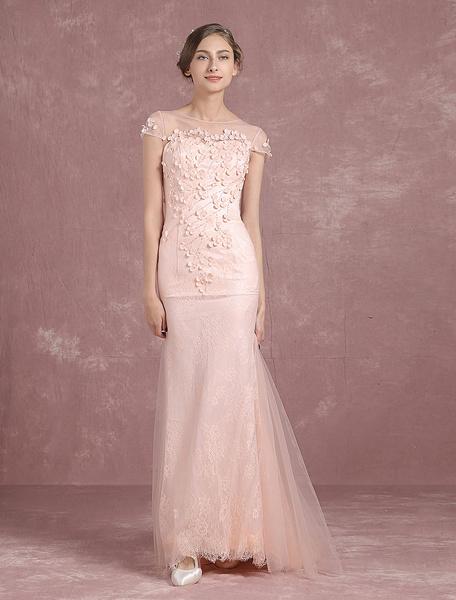 Milanoo Summer Wedding Dresses 2020 Blush Boho Tulle Mermaid Bridal Gown Illusion Neckline Applique Button Sleeveless Sweep Train Bridal Dress