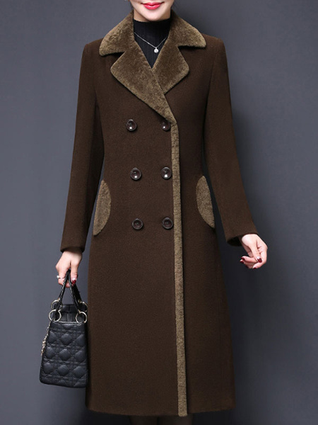 Milanoo Coat For Woman Turndown Collar Buttons Retro Coffee Brown Woolen Coat