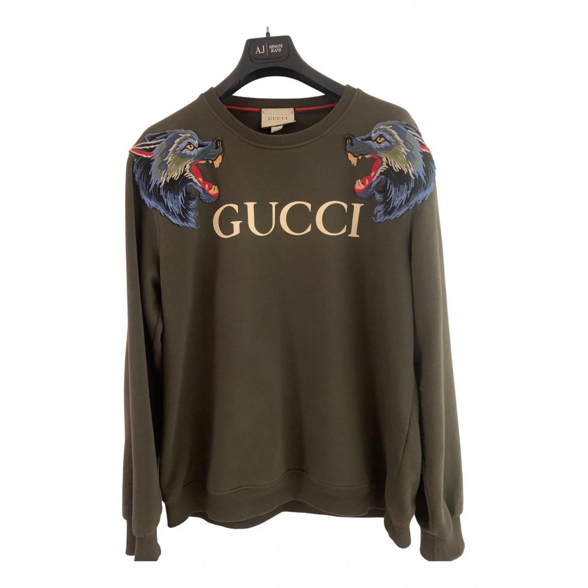 Gucci \N Pullover.Westen.Sweatshirts  in  Khaki Baumwolle