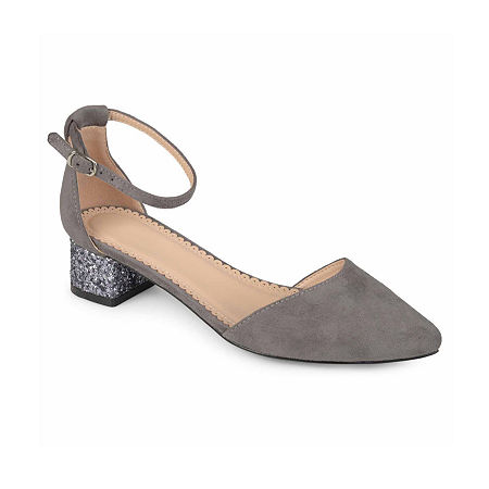 Journee Collection Womens Maisy Pumps Block Heel, 9 Medium, Gray