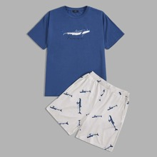 Men Letter and Whale Print Tee and Shorts PJ Set