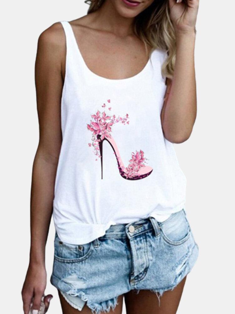 High Heels Flower Print Sleeveless Casual Tank Tops For Women