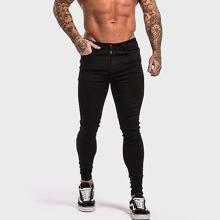 Schwarz Einfarbig Laessig Maenner Jeans