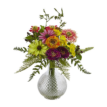 Nearly Natural Mixed Flower In Glass Vase Artificial Flowers, One Size , Multiple Colors
