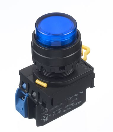 Idec , YW Illuminated Blue Extended Push Button Complete Unit, NO, 22mm Maintained Screw