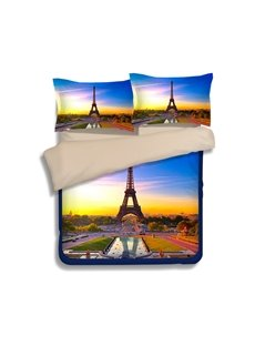 Famous Eiffel Tower Print 4-Piece Polyester Duvet Cover Sets