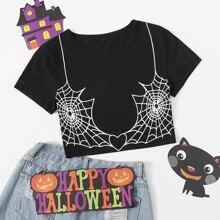 Crop T-Shirt mit Spinnennetz Muster