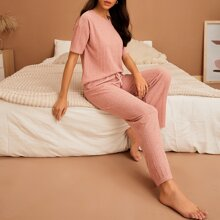 Drop Shoulder Tee & Drawstring Pants PJ Set