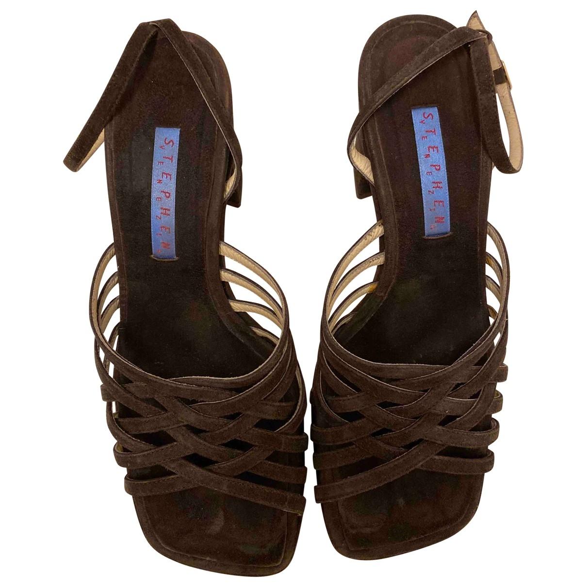 - Sandales   pour femme en suede - marron