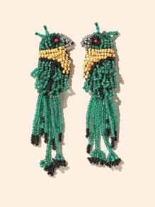 Beaded Tassel Design Bird Shaped Earrings