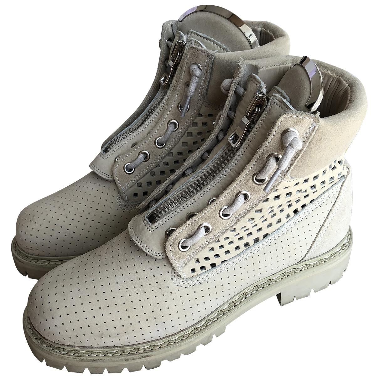 Balmain \N Ecru Suede Ankle boots for Women 38.5 EU