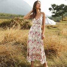 Cami Kleid mit Blumen Muster und Raffung