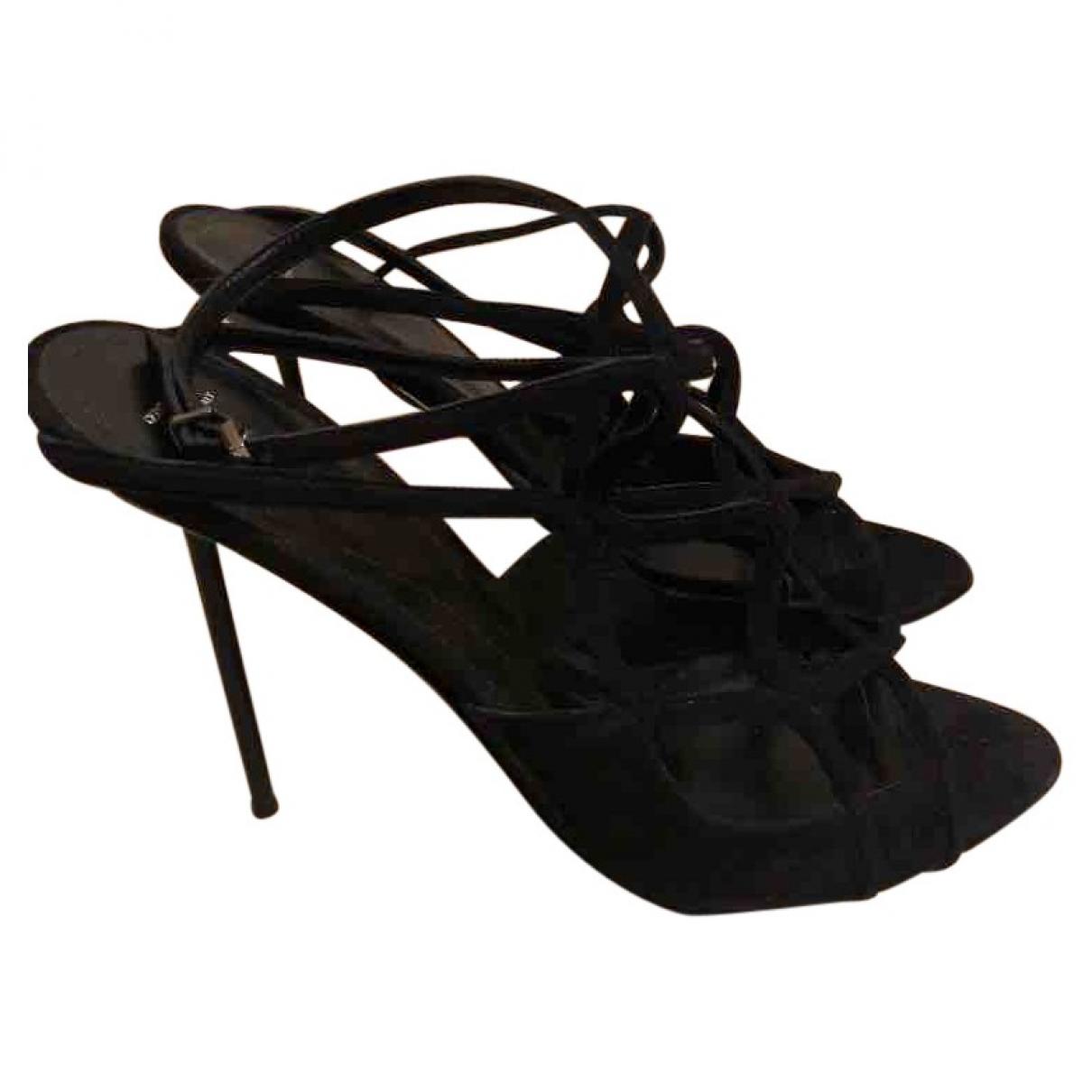 Giorgio Armani \N Black Suede Sandals for Women 40 EU