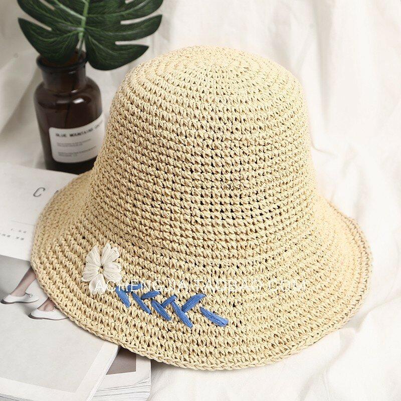 Small Daisy Straw Hat Sun Hat Folding Basin Hat Fisherman Hat Beach Hat