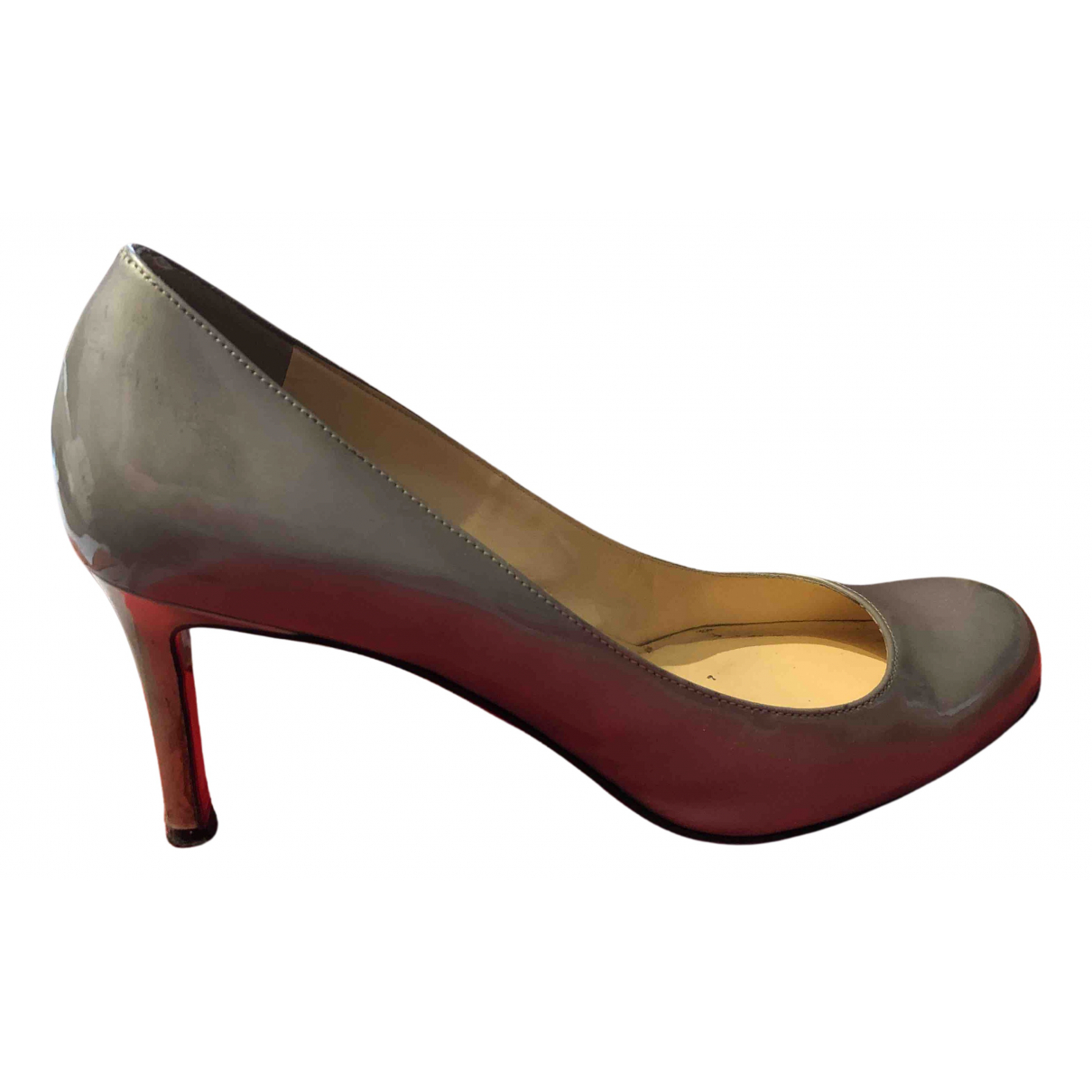 Christian Louboutin N Grey Leather Heels for Women 37.5 EU